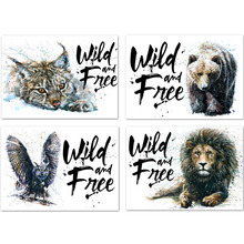 Watercolor Eagle Bear Owl Lion Diamond Embroidery Cross Stitch Wall Art Canvas Painting Nordic Wild Free Animal Home Decor