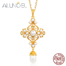 ALLNOEL 925 Sterling Silver Necklace Women Handmade Pearl 5 * 6mm Pendant Real Golden Wedding Engagement Boutique Jewelry New