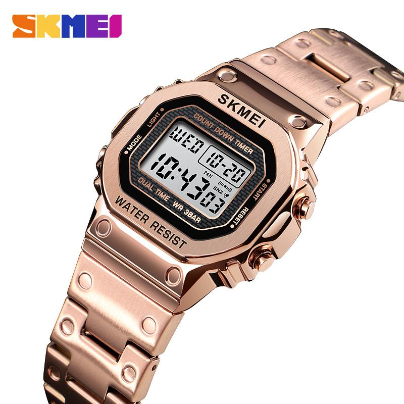 <font><b>SKMEI</b></font> Fashion Women Digital Watch 30M Waterproof Multi-Function Business Watches Stainless Steel Strap Reloj Mujer Female Clock image