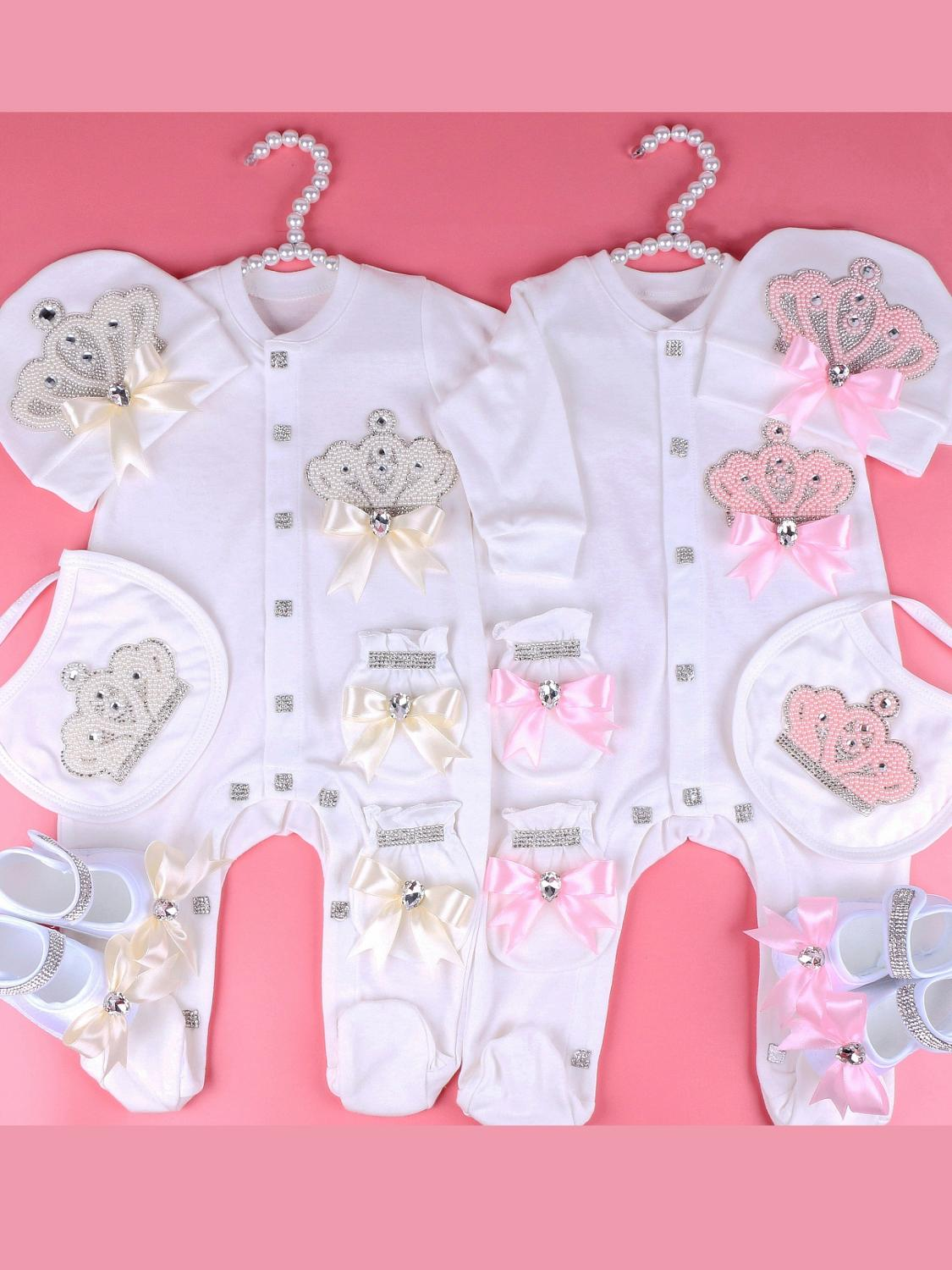 Bodysuit Outfit Pajamas Pearl-Crown Gift Newborn Baby-Girl Princess with Bow Infant 0-6-Month