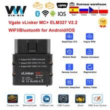 Vgate vLinker MC + ELM327 Bluetooth 4.0 OBD 2 OBD2 ELM 327 wifi רכב אבחון עבור אנדרואיד/IOS סורק אוטומטי כלי PK OBDLINK V 1 5