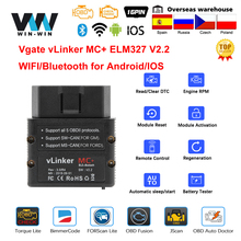 Vgate vlinker mc + ELM327 bluetooth 4.0 obd 2 OBD2 elm 327無線lanカー診断アンドロイド/iosスキャナ自動ツールpk obdlink v 1 5