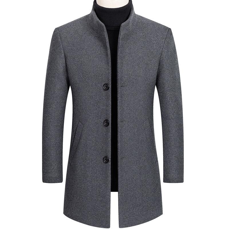 Mens Jackets Men's Fashion Woolen Coat Autumn Winter Men Business Casual Stand Collar Wool Jacket Coat Male Trench coat Overcoat