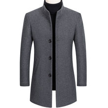 Mens Jackets Men's Fashion Woolen Coat Autumn Winter Men Business Casual Stand Collar Wool Jacket Coat Male Trench coat Overcoat(China)