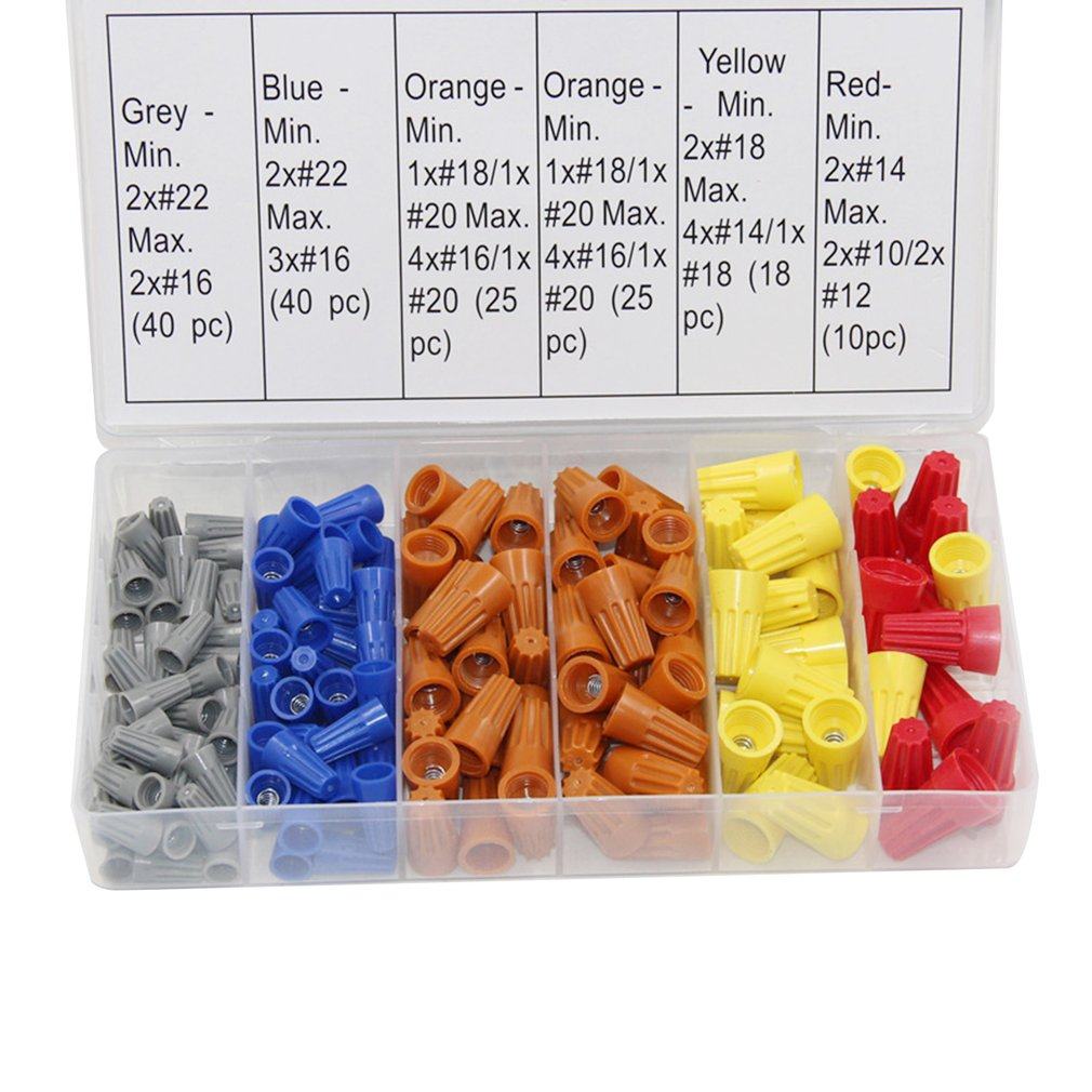 158PCS Electrical Wire Connectors Screw Terminals with Spring Insert Twist Nuts Quick Disconnects Flat Connectors Cable Lugs|Terminals| |  - title=