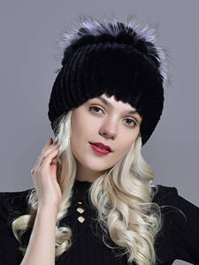 Raglaido Fur Hats Rabbit-Hat Snow-Caps Kniting Elegant Princess Winter Women Real Ladies