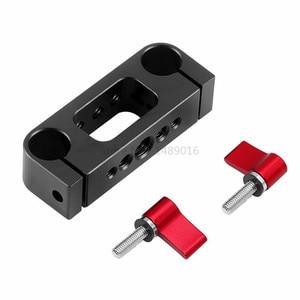 Image 4 - 15mm Rig מוט כפול חורים 1/4 3/8 חוט טלה עדשת מחזיק תמיכת Rail צילום מערכת עבור DLSR מצלמה כלוב חלקי