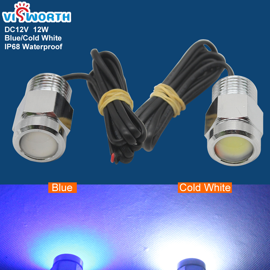 Led Underwater Boat Lamp 12W Led Outdoor Light With Waterproof Connector For Marine Boat Yacht Fishing Blue Cold White Light