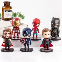 Hero Figure Thor Super Man Ornaments Cake Topper Decorations Baby Birthday Party Children Toys Super Hero Model Dolls