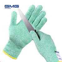 Rękawice odporne na cięcia GMG zielona żywność klasy do kuchni HPPE EN388 poziom 5 ANSI rękawice ochronne rękawice antyprzecięciowe