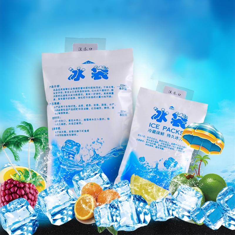 5pcs/lot Reusable Gel Ice Bag Cool Pack High Quality Fresh Cold Cool Cooler Bags Box Bolsa Termica Sac Isotherme 200 400 600ML