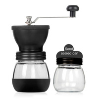 Manual Coffee Grinder Adjustable Coffee Bean Mill Kitchen Tools Handmade Coffee Bean Spice Grinders Mill With Rubber Loop Ring