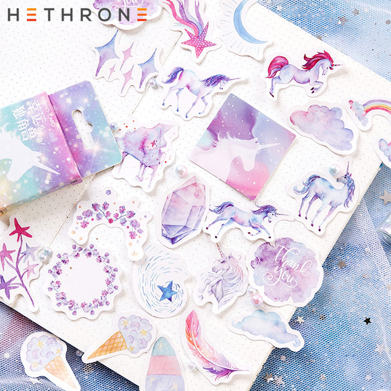 Hethrone 46pcs Beautiful Dreamy Unicorn Transparent PVC Hand Account Sticker Package DIY Diary Stickers Cup Decorative Material