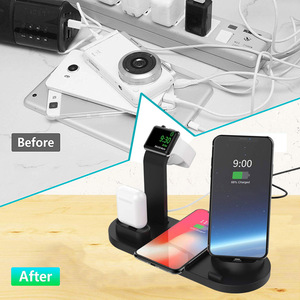 Image 2 - DCAE 4 In 1 Qi Wireless ChargerสำหรับiPhone 11 X XS XR 8 10WประเภทC USBชาร์จแท่นวางสำหรับAppleนาฬิกา 5 4 3 2 Airpods