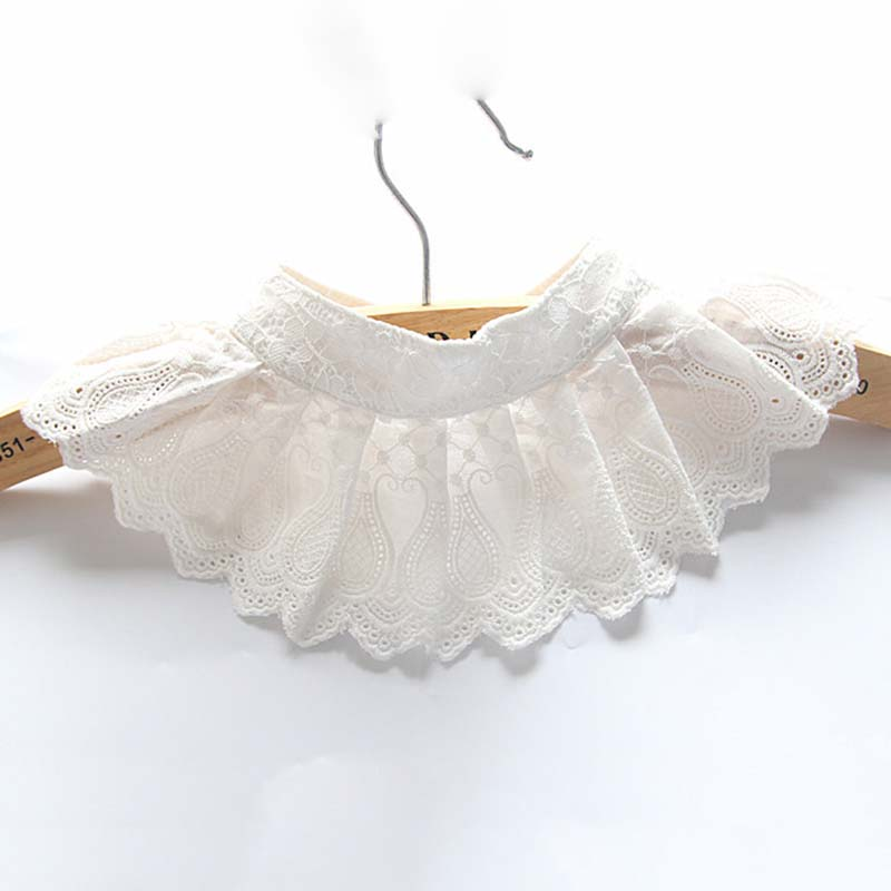 White Women Girl Fake Collar Fashion Scalloped Folds Lace Collar Shirt Tie Detachable Shirt Women's Clothing Accessories