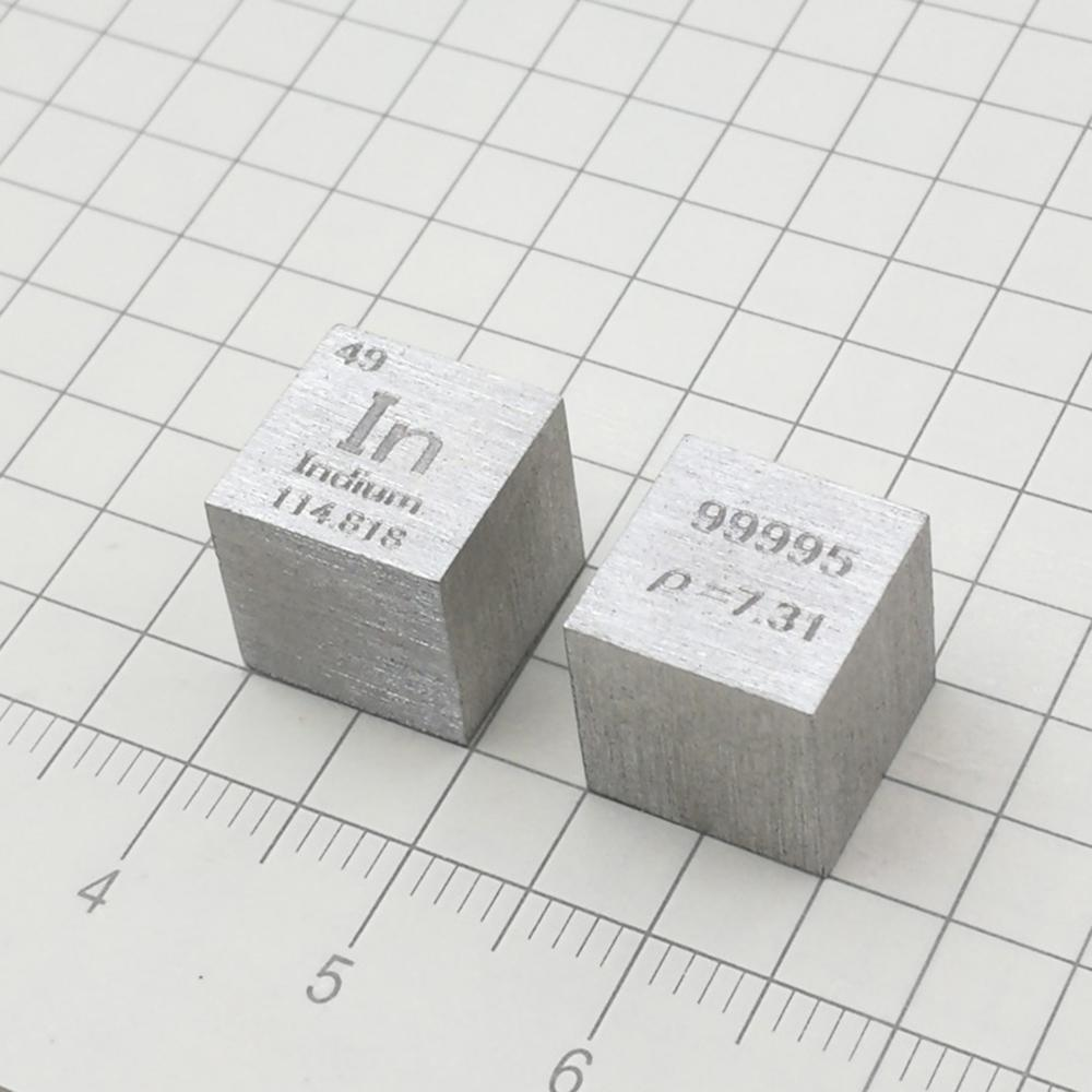 Free shipping Indium In Metal 10mm Density Cube 99.995% Pure for Element Collection