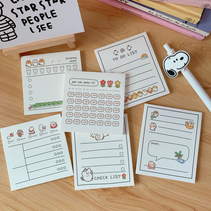 30 Sheets Cartoon Rabbit Cat Sticky Notes Student Weekly Planner Stickers Memo Pad Portable Notebook Diary School Stationery