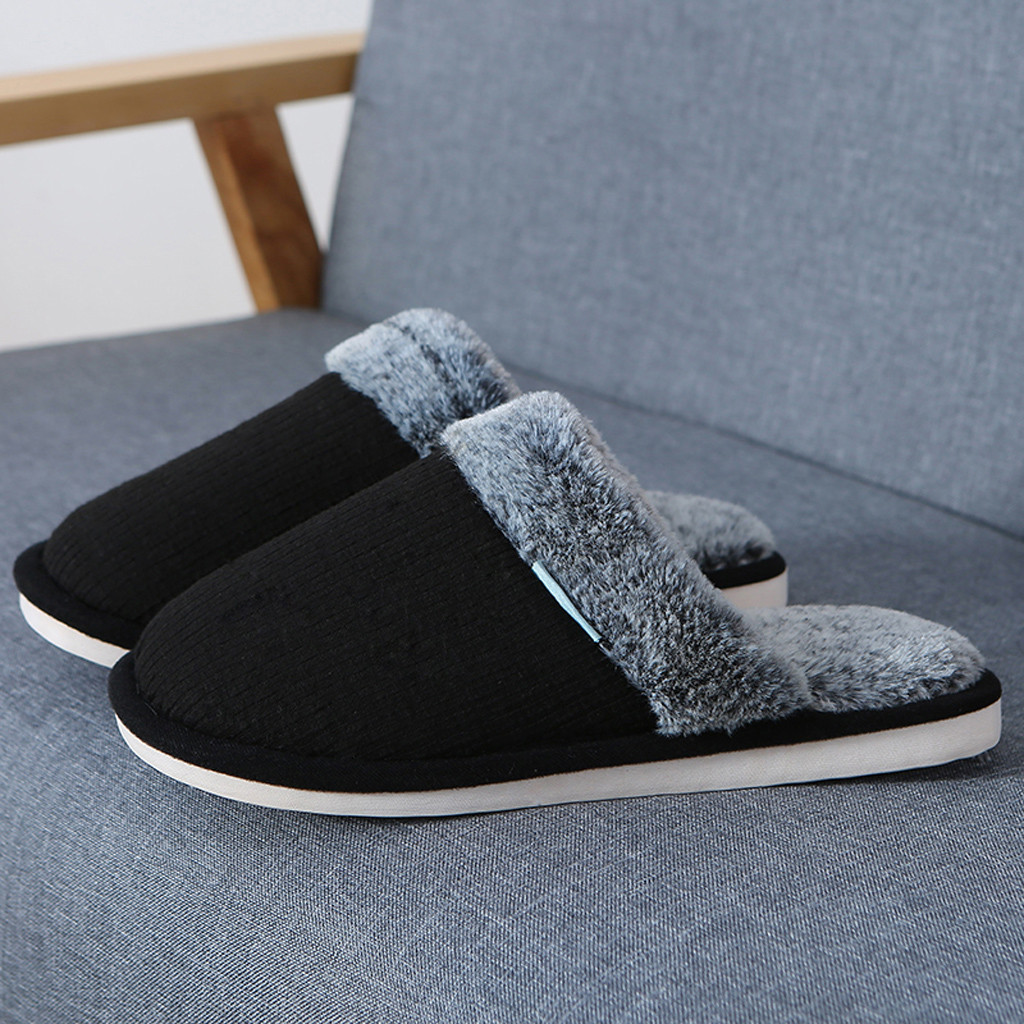 High end Brand Winter Home Thick Cotton Slippers Non-Slip Indoor Plush Flat Mens Shoes