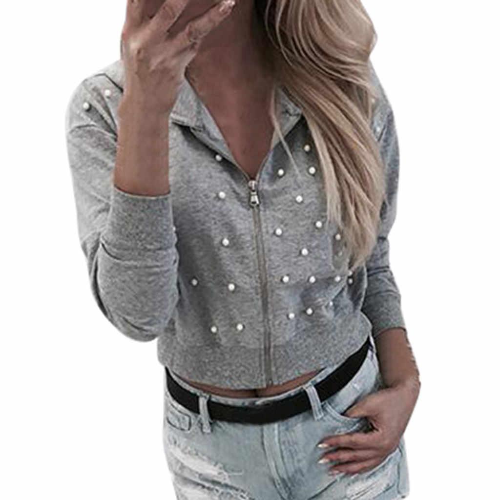 Perle Perlen Nette Frauen Hoodies Pullover atmungs Elastizität Lange Sleeve Zipper 2020 hot Tops Sweatshirt roupas Femininas