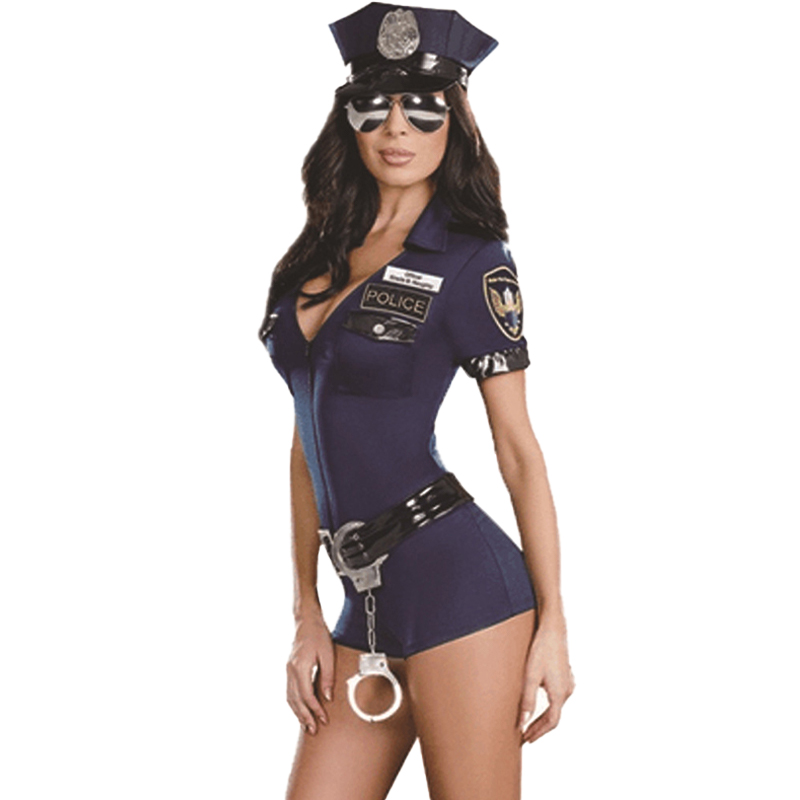 Sexy Polizei Frauen Cop Polizei Weibliche Offizier Uniform Verführung Blau Zipper Polizei Kostüm Karneval Party Kostüm Spiel Uniform