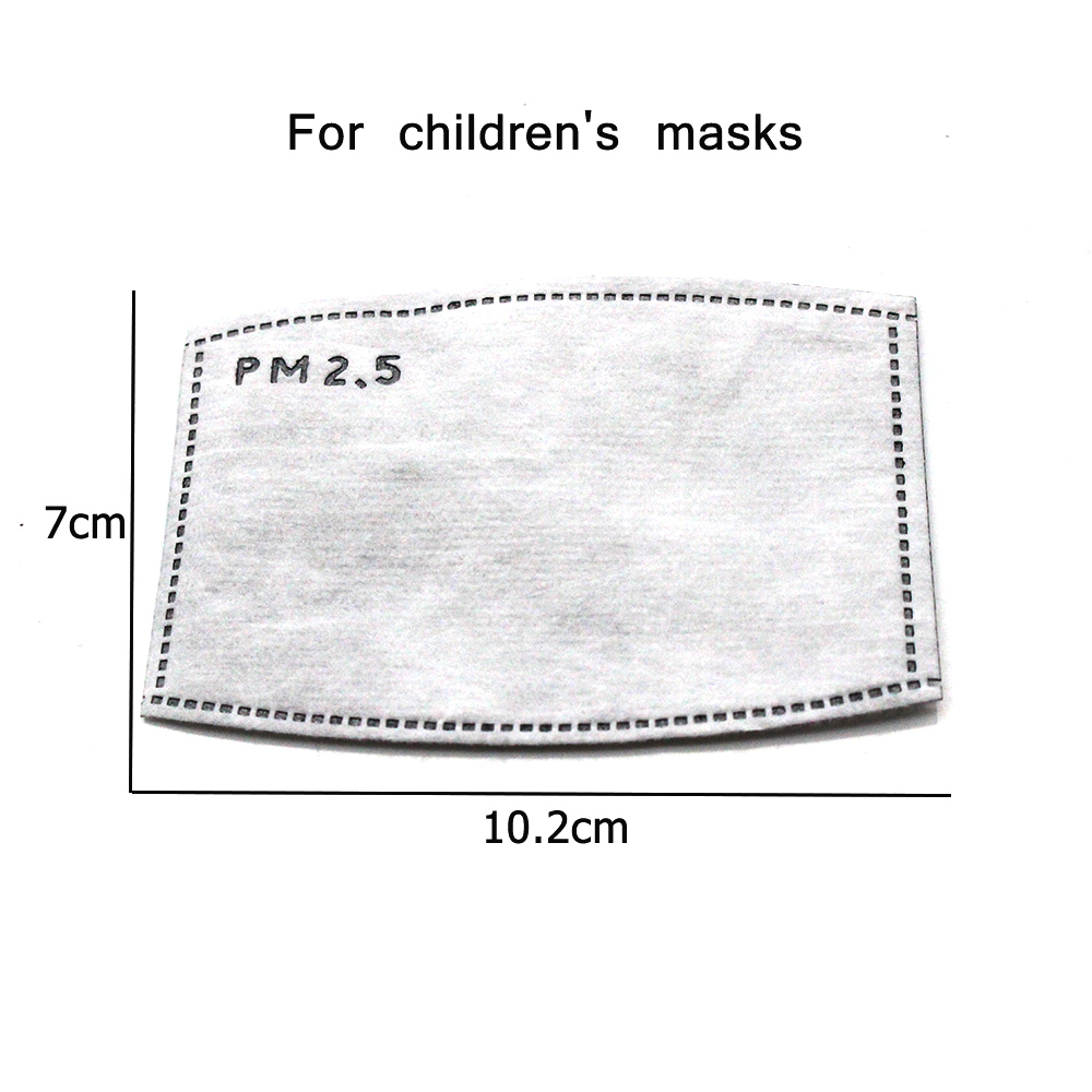 10Pcs(=5packs) Child Kids Activated Carbon Filter PM2.5 Mouth Mask Replaceable Filter-slice 5 Layers Non-woven 3