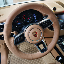 All Brown Leather & Hole Leather Steering Wheel Brown Stitch on Wrap Cover Fit For Porsche Macan Cayenne 2015-2016