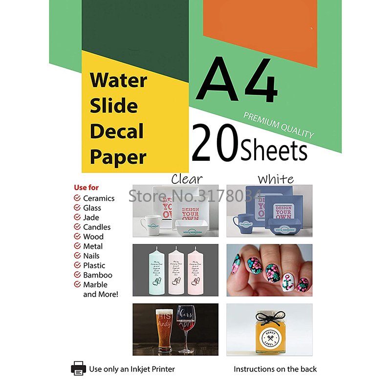 Transparent Waterslide Decal Paper for Inkjet Printer A4 Water Slide Transfer Printable Paper High Resolution DIY Design Cup