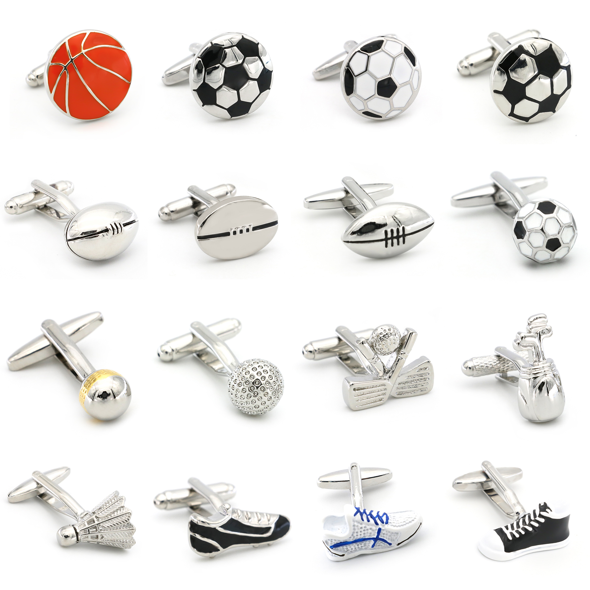 Free Shipping Men's <font><b>Cufflinks</b></font> Wholesale Sport Series Rugby <font><b>Golf</b></font> Football Tennis Design Fashion Cuff Links For Men Copper Quality image