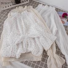 Shirts Women Autumn Long Flare Sleeve Mesh Inside Blouse Solid Womens Sweet Eleg