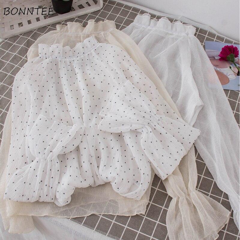 Shirts Women Autumn Long Flare Sleeve Mesh Inside Blouse Solid Womens Sweet Elegant Trendy All-match Ladies Shirt Korean Chiffon