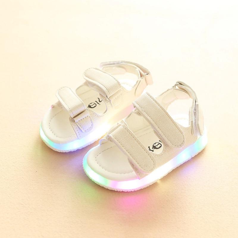 2020 New Summer Children Sandals For Boys Girls Led Lighting Shoes Fashion Bottom Non-Slip Closed Toe Fashion Light Kid's Sandal