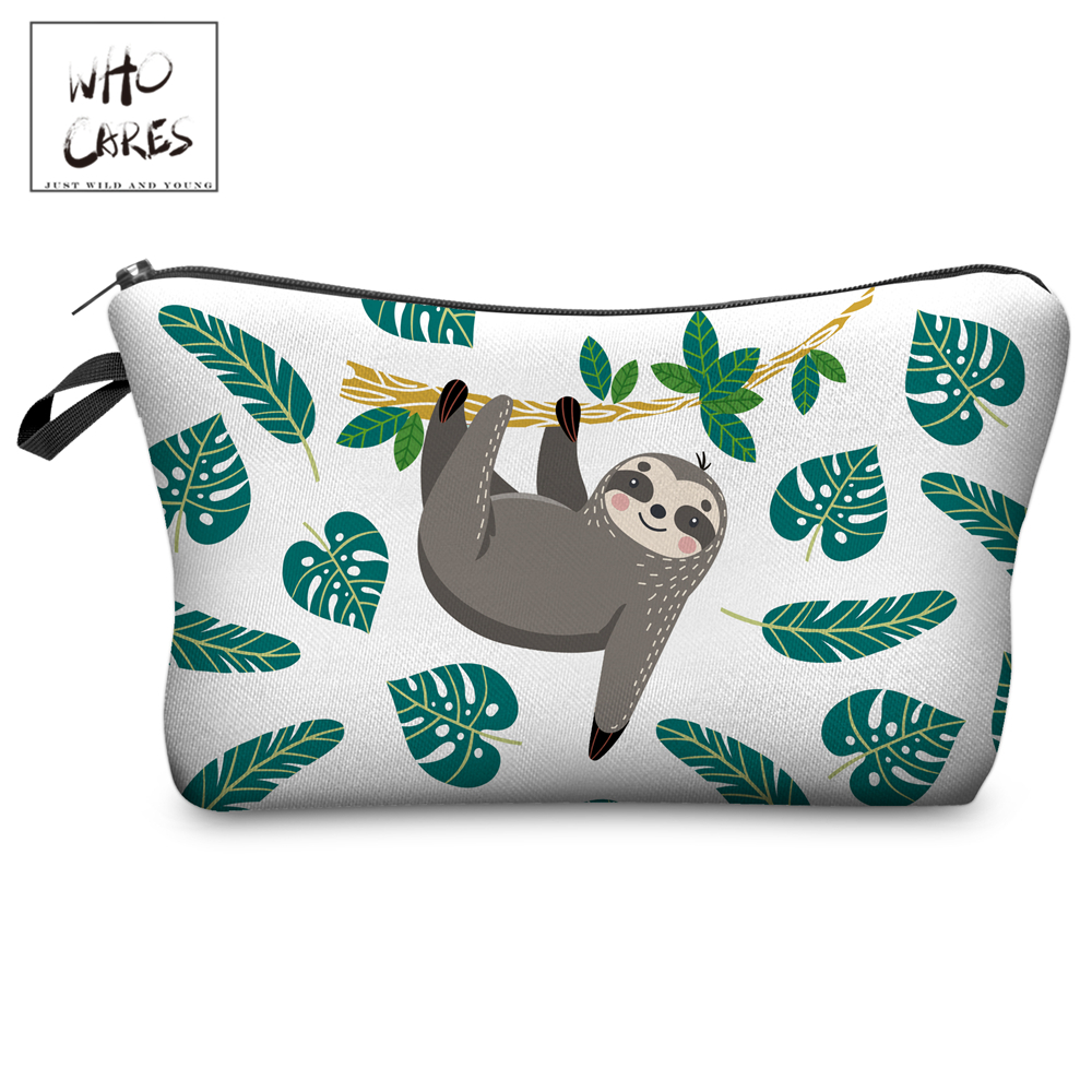 Who Cares Makeup Bags Women Cosmetic Bag Tree Sloth Printing Oiletry Bag Cosmetics Pouchs For Travel Make Up Bag