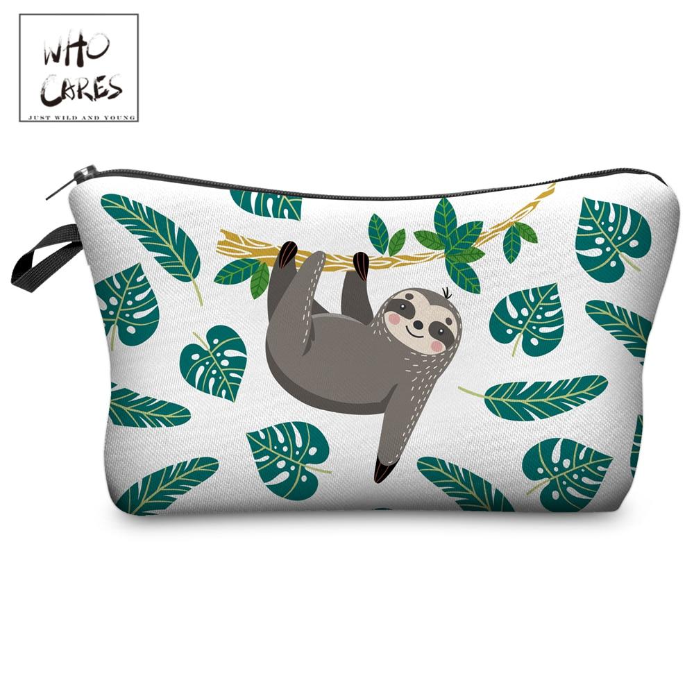 Who Cares Makeup Bags Women Cosmetic Bag Tree Sloth Printing Oiletry Bag Cosmetics Pouchs For Travel Make Up Bag