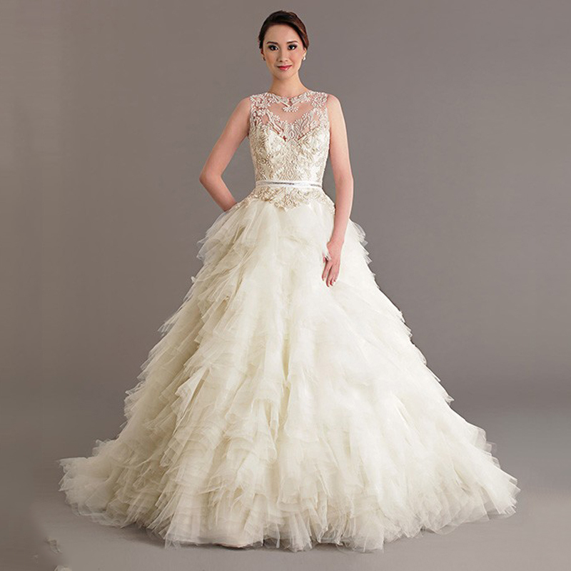 New Wedding Bridal Gowns Sheer Crew Ruffle Tiers Tulle Ball Gown Pearls Bridal Wedding Dresses 2015 Vestidos