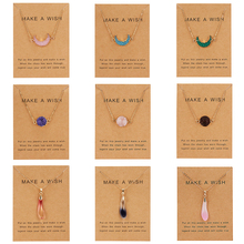 Classic Vintage Women Fashion Natural Stone Resin Pendant Necklace Gold Chain Necklaces with Wish Card Femme Charm Jewelry Gift