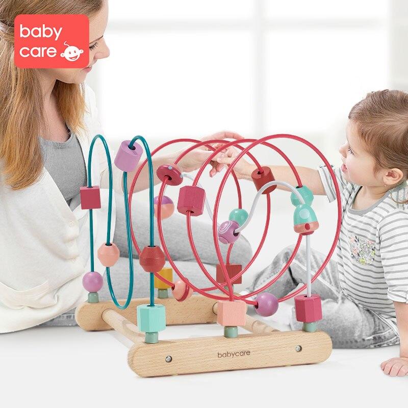 Babycare круглая головоломка 0 1 2 лет раннее развитие ребенка красочные головоломки строительные блоки действие обучение бисером - 3