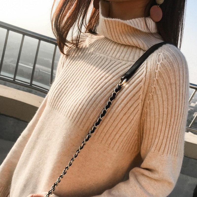 Sweater Women Turtleneck Pullovers Solid Stretch Striped Korean Top Knit Plus Size Harajuku Fall 2020 Winter Clothes Beige Khaki 8