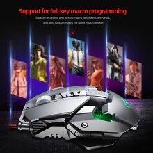 Ratón de Metal RGB para jugadores, iluminado, con cable mecánico, 7 teclas, 6400DPI, definición ajustable, para PC y portátil