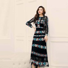Top Quality News Black Long Sleeve Embroidered Lace Long Dress Party Dress  21304SY01