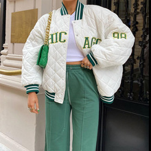 Autumn and Winter Women Embroidery Retro Baseball Uniform 2021 Fashion  Cotton Jacket Coat Long Sleeved Striped Street Jacket