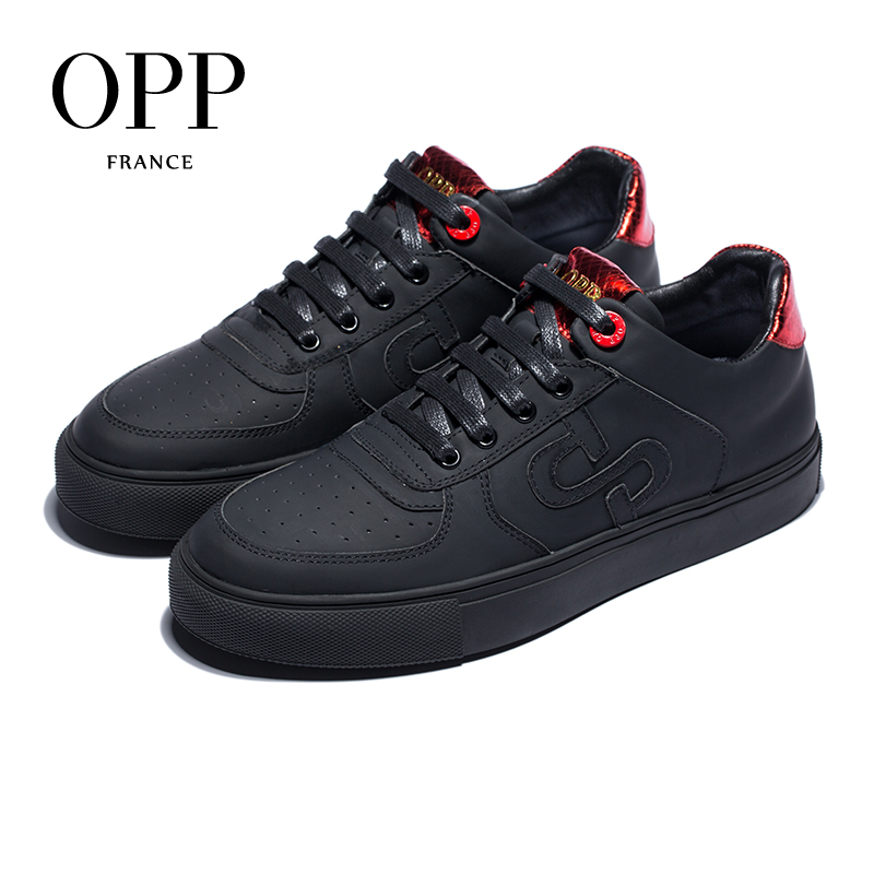 OPP Men's Shoes Breathable Lace Casual Shoes Men's Wild Comfortable Sports Shoes Leather British Retro Shoes