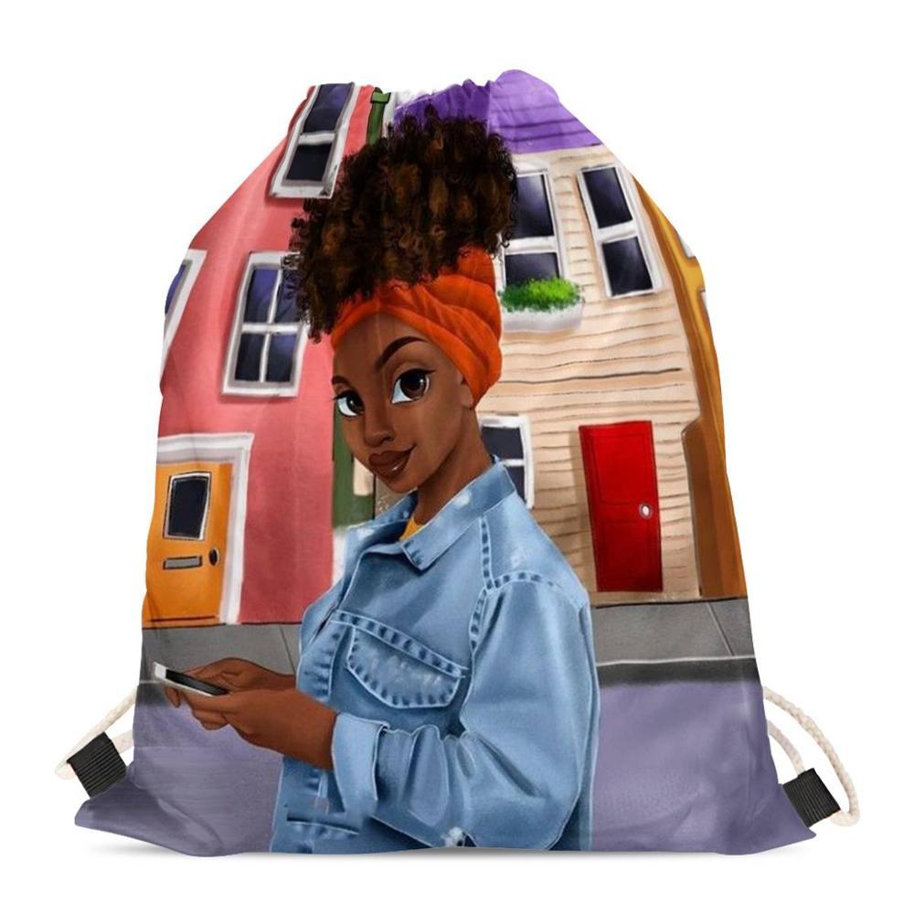 HYCOOL Drawstring Bags Outdoor African Black Girl Beauty Print Women Sport Bag Female Beach Bag Fashion Backpack Woman 2020