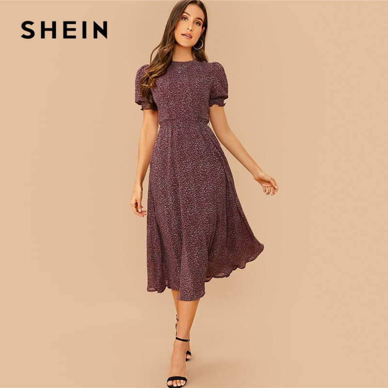 SHEIN All Over Print Flared Frill Boho Dress With Belt Women Summer Holiday High Waist Puff Sleeve Shirred A Line Midi Dresses