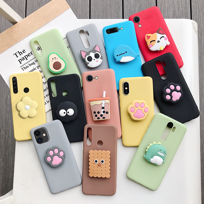 3D silicone cartoon phone holder case for iphone  12 11 pro max / for iphone x xr xs max 6 7 8 plus 6s 5s se 2020 stand cover