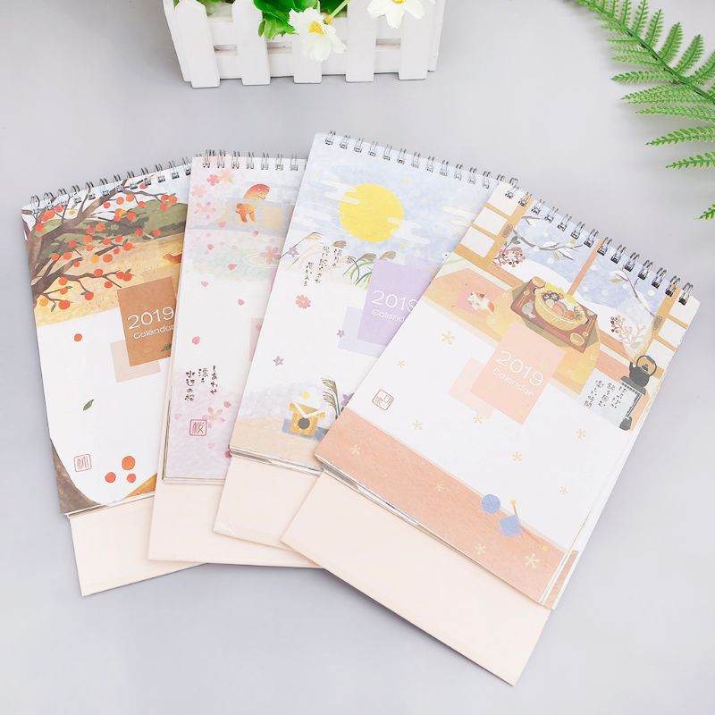 Japanese Style 2019 Desktop Standing Coil Paper Calendar Memo Daily Schedule Table Planner Yearly Agenda Organizer