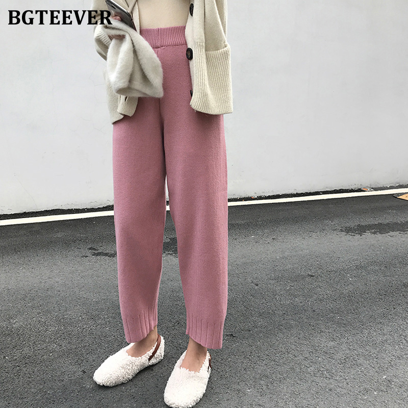BGTEEVER Casual Sweater Pants Women Elastic Waist Straight Knitted Pants Female 2020 Spring Loose Female Trousers Capris femme