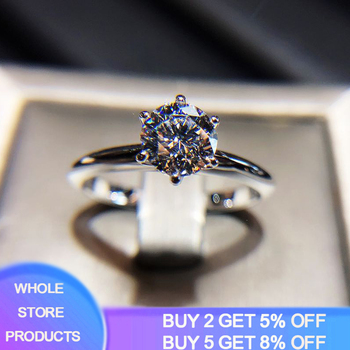 18K White Gold 2.0 Carats Zirconia Diamond Rings for Women Luxury Engagement Wedding Bizuteria Anillos Gemstone Silver 925 Ring rose gold color lab diamond ring for women luxury anillos wedding bizuteria fashion jewelry gemstone white topaz 925 silver ring