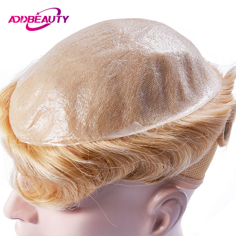 AddBeauty Men Toupee Wig Hairpiece Replacement Systems Thin Skin 0.04-0.05mm 8x10 Inch Handmade Natural Indian Human Remy Hair