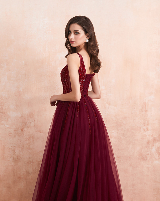 Sexy Tulle Long Prom Dresses 2020 New Arrival Beaded Split A-Line V-Neck Special Occasion Evening Party Gown 5
