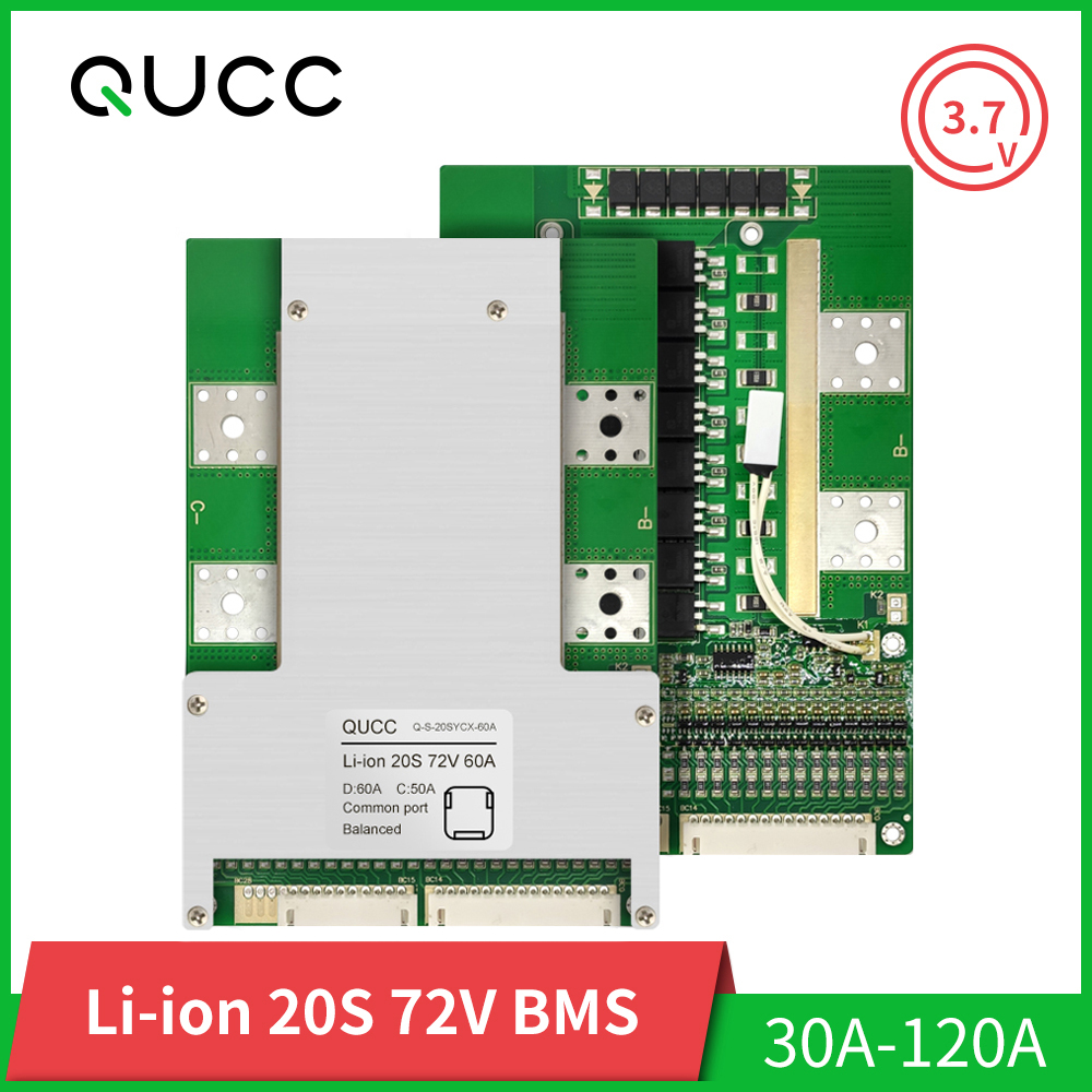 Qucc <font><b>BMS</b></font> 20S 72V 18650 Balancer Lithium Battery Protection Board Electr Scooter Ebike Battery Pack <font><b>BMS</b></font> <font><b>20A</b></font> 30A 40A 50A 80A 120A image